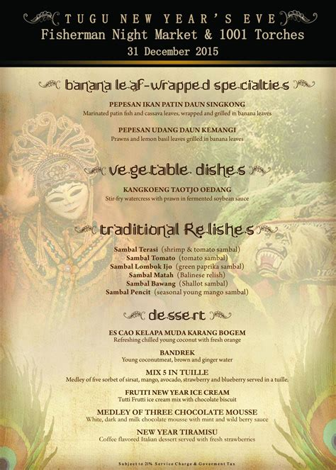 new year dessert menu new year s at hotel tugu malang what s on tuguwhat