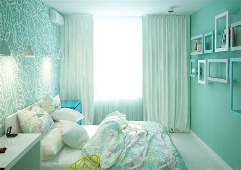 Seafoam Bedroom Ideas by Two Cheerful Apartments With Creative Storage And Splashes