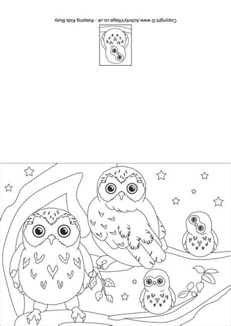 owl birthday coloring page owl colouring card