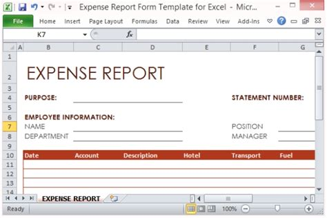 Expense Report Form Template For Excel Project Expense Report Template