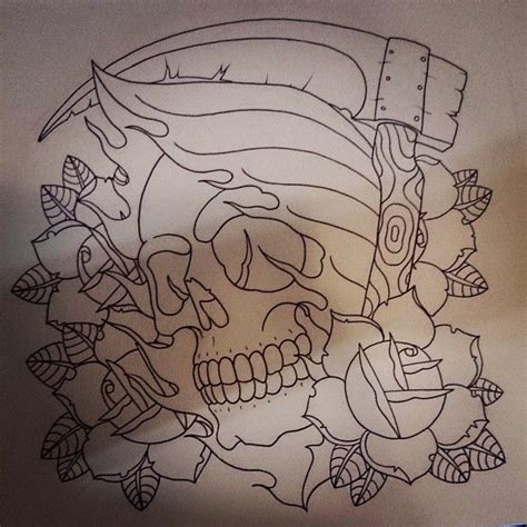 old school tattoo outlines outline death skull with a scythe and roses tattoo design