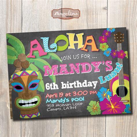 Card Template Hawaian Birthday by Luau Birthday Invitation Hawaiian Chalkboard Diy