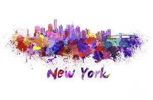 New York City Shower Curtain New York Skyline In Watercolor Painting By Pablo Romero
