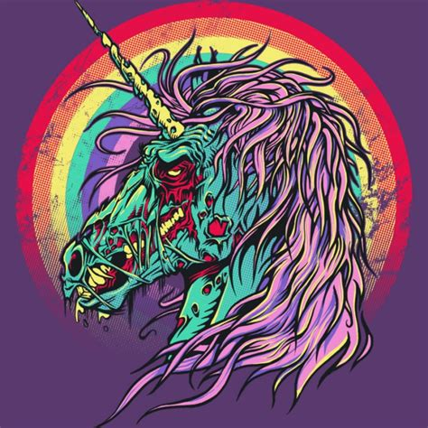 rainbow unicorn tattoo designs scary unicorn on rainbow background design