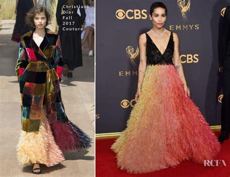 zoe kravitz red carpet fashion awards zoe kravitz in christian dior couture 2017 emmy awards