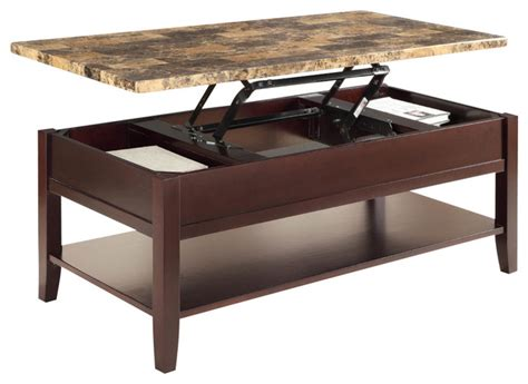 homelegance orton faux marble top cocktail table in rich