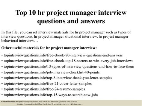 Mba Hr Questions And Answers by Top 10 Hr Project Manager Questions And Answers