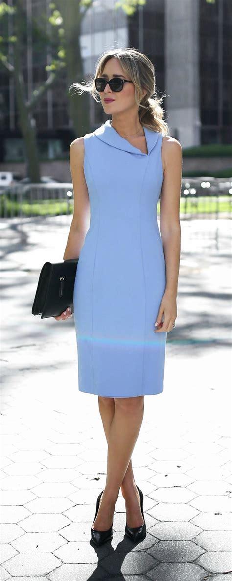 shabby blue kunee classic periwinkle blue knee length sheath dress with asymmetrical shawl collar neckline