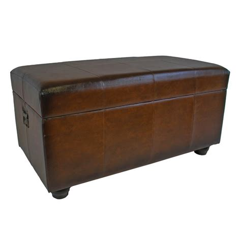 ottoman trunk international caravan carmel faux leather bench trunk in