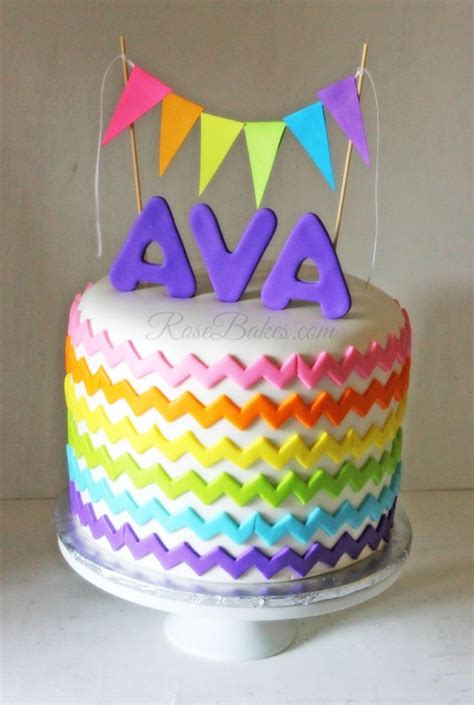 Bunting Flag Happy Birthday Rainbow Chevron rainbow chevron cake with bunting flags bakes