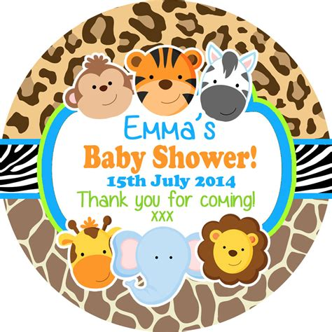 printable stickers baby shower jungle animals personalised baby shower party favour