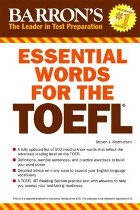 essential words for the toefl 6th edition by steven j matthiesen 9781438002965 paperback