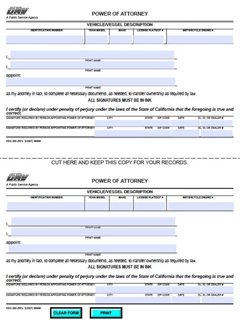 free vehicle power of attorney form for california adobe pdf