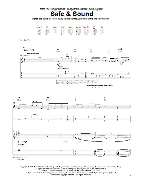 tutorial guitar safe and sound safe and sound guitar tab by taylor swift guitar tab 91333