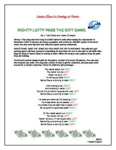 elf gift passing game free right left based on the nativity story
