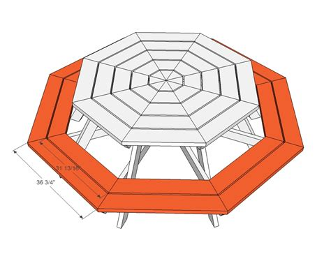 plans  build octagon picnic table  woodworking