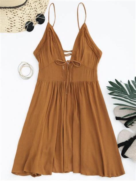 24325 Brown Back Lace Summer Dress plunge low back lace up sundress light brown summer