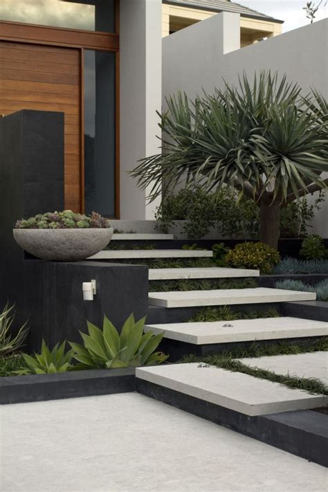 Entrance Stairs Design Branksome Tim Davies Landscaping Contemporary Landscape Design Succulent Plants Decorating
