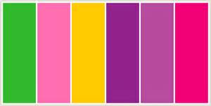 css color scheme colorcombo9627 with hex colors 32b92d ff6eb0 ffcb00