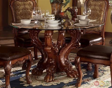 54 Glass Top Dining Table Dresden Formal Carved Wood 54 Quot Glass Top Dining Table In Cherry Oak