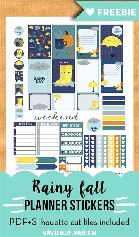 printable planner supplies free printable rainy fall weekly kit stickers for your