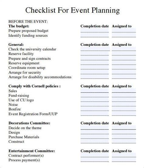 event planning checklist pdf   Ministry   Conference