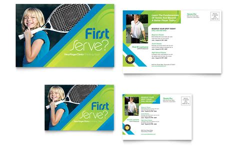 tennis club camp postcard template word publisher
