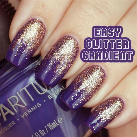 easy nail art glitter black tip and pink glitter gel nail art design idea