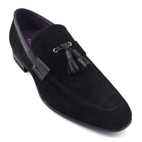 black suede loafers shop mens black suede tassel loafer gucinari style