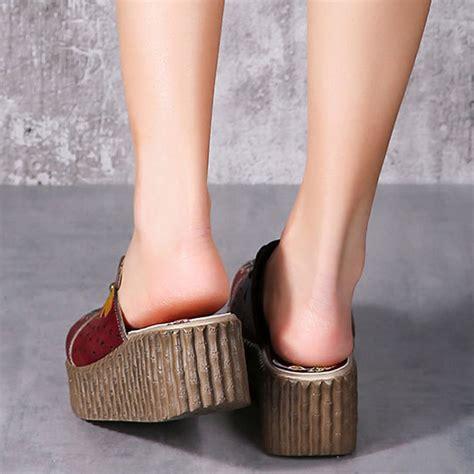 socofy original handmade flower slip on retro sandals alex nld