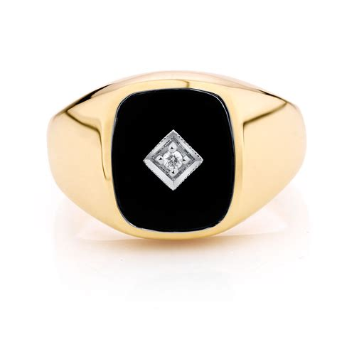 mens silver ring with black s set ring with black onyx in 10kt yellow gold