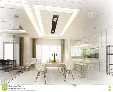 Abstract Interior Design by Abstract Sketch Design Of Interior Dining And Kitchen Room