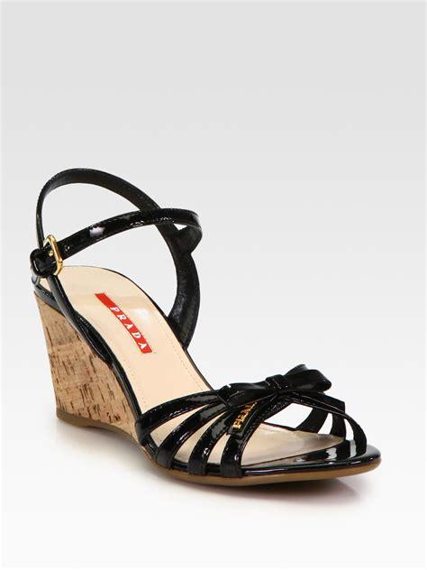 wedge sandals black prada leather bow cork wedge sandals in black lyst