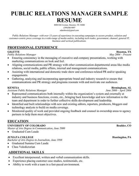 pr resume objective public relations resume sle to