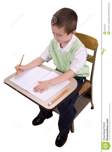 Sit At The Desk by Boy At School Desk Royalty Free Stock Photography Image