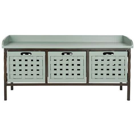 green storage bench safavieh isaac wooden storage bench in seafoam green