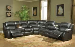 transitional black bonded leather sectional w recliner