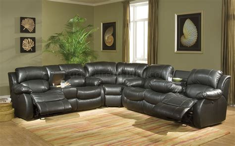 Black Leather Sectional Sofa Recliner Transitional Black Bonded Leather Sectional W Recliner Mechanism
