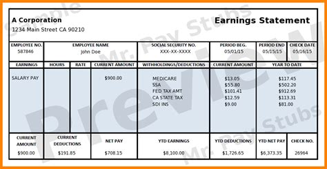 5 Free Printable Paycheck Stub Generator Sles Of Paystubs Free Self Employed Pay Stub Template