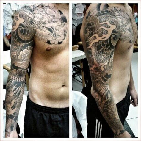 full arm tattoo designs black white what are some cool black and grey sleeve designs