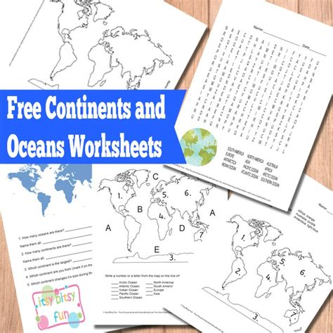 printable word search continents oceans free continents and oceans worksheets