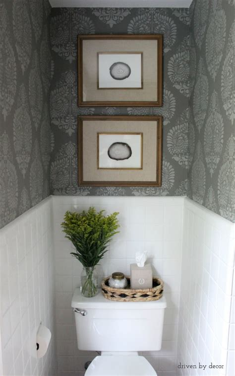 hometalk powder room makeover idea   stencil