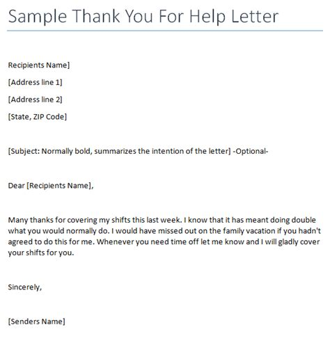 thank you letter to for help thank you for help letter writing professional letters