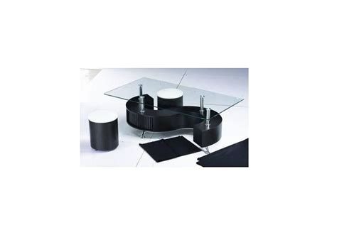 shaped black high gloss glass coffee table 2 stools