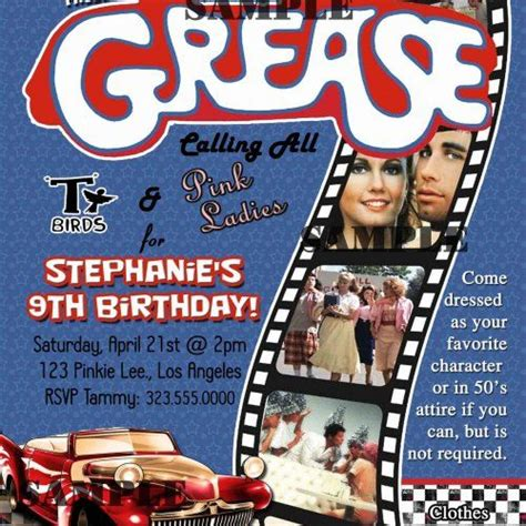 Grease 50s Fifties Sock Hop Dance Birthday Party Invitation Digit Thepartyson Grease Invitation Template