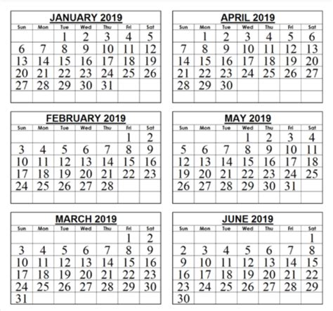 free 6 month calendar template free template of 2019 6 month calendar print calendar