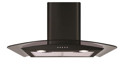 Kitchen Island Extractor Hood by Cda Ecp62 60cm Curved Glass Cooker Hood In Black Or