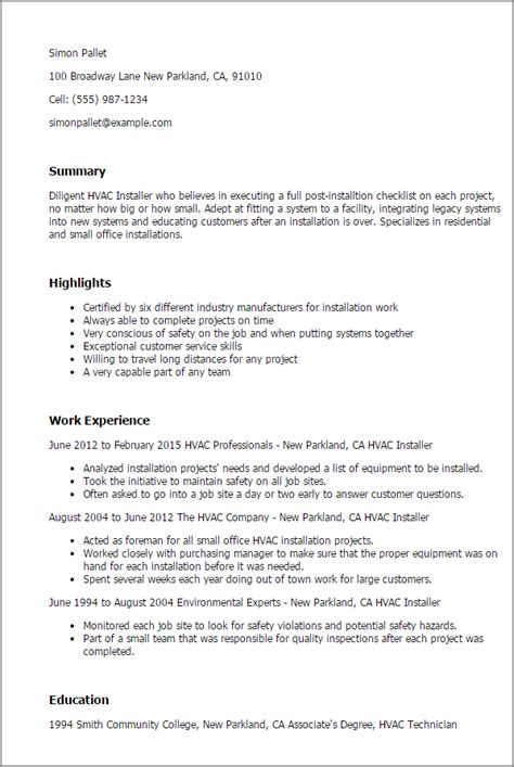 Hvac Resume Objective Exles by Hvac Installer Resumes Exles Windthefor198715