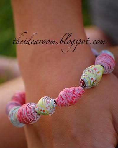 Paper Bead Crafts - bracelets the kid and magazines on
