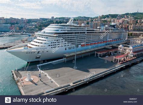 genoa terminal cruise liner msc fantasia at the cruise terminal of
